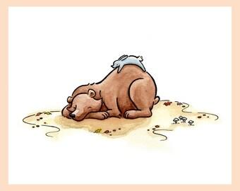 "Woodland creatures nursery art. Sleeping BEAR & RABBIT mounted art print. 8""X10"""