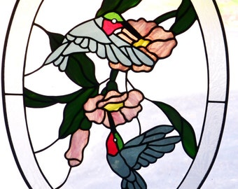 Special Sale!! Vintage Oval Humming Birds Stained Glass Sun Catcher, 18 inch by 13in, Sun Catcher, 2 Humming Birds & Flowers, Handmade in US