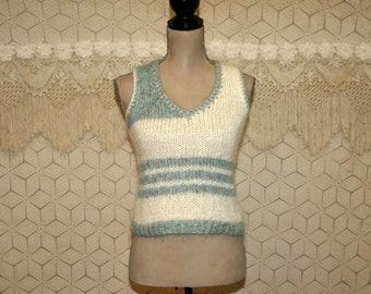 Vintage Sweater Vest XS Small Mohair Wool Knit Tank Top White Blue Teal Aqua Cream V Neck Striped Vest Womens Vest Cropped Vintage Clothing