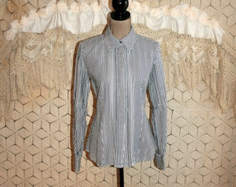 Womens Tailored Shirt Cotton Stripe Blouse Long Sleeve Button Up Silver Metallic Gray and White Fitted Blouse Express Medium Womens Clothing