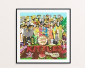 Cat album cover The Kittles - homage to the Beatles Sergeant Peppers Lonely Hearts Club Band  - ILLUSTRATED LP PRINT
