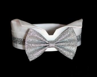 Silver dog bow tie collar, dog tuxedo collar, giltter silver dog bowtie for wedding ring bearer, white silver wedding, dog wedding bow tie