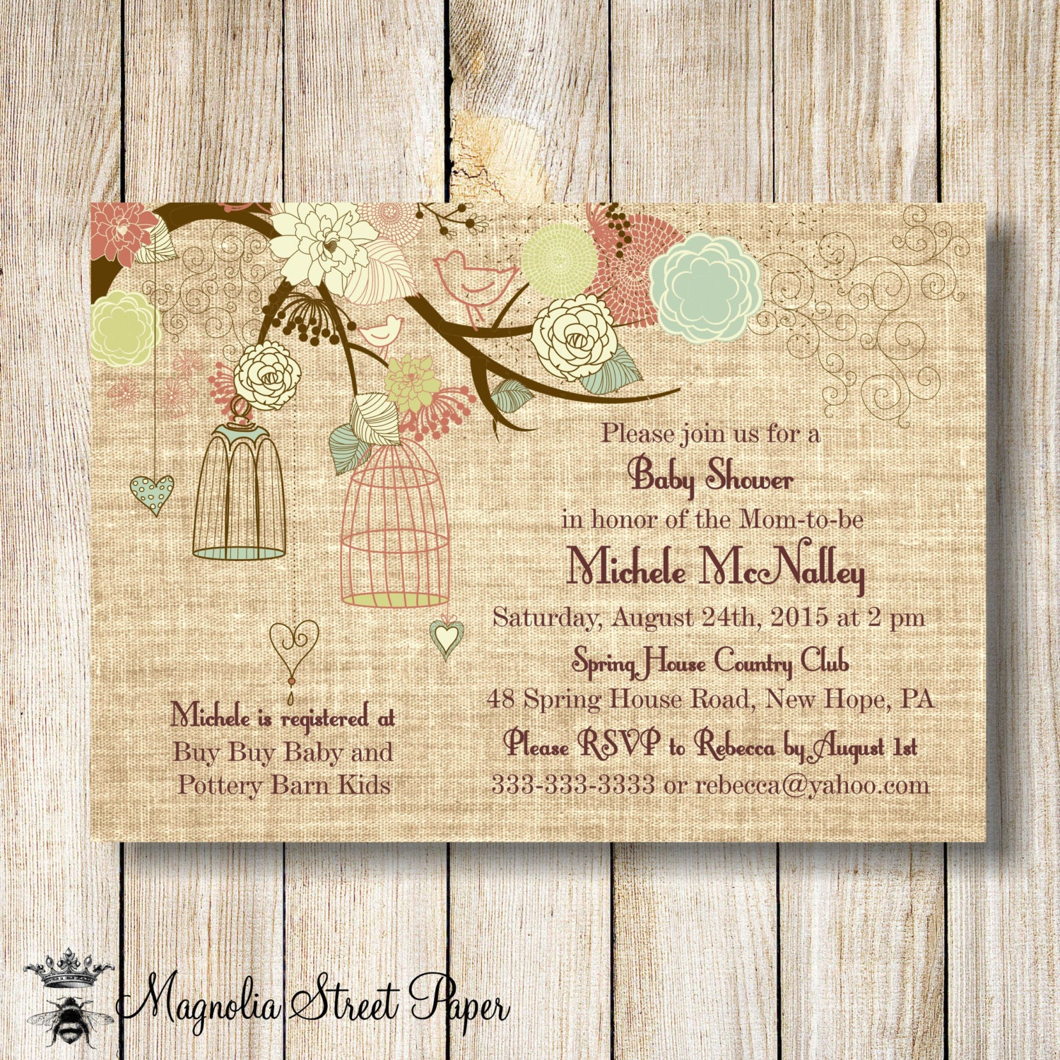 burlap baby shower invitation baby girl baby boy baby shower