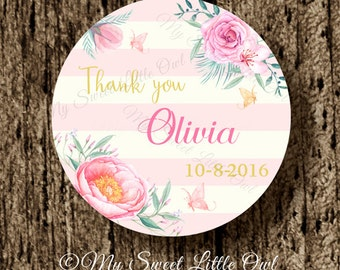 Flower thank you label - pink flower wedding sticker - wedding thank tag - bridal shower sticker - watercolor flower tag - butterfly label