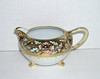 Antique Nippon Hand Painted Creamer Gold Beading Leaf Mark