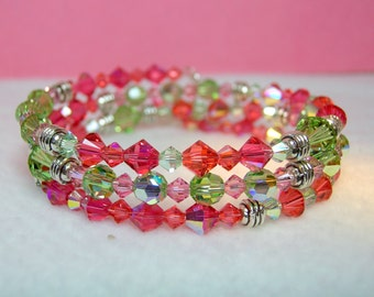 Indian Pink and Peridot Crystal Memory Wire Bracelet