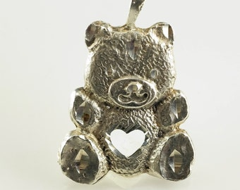 Teddy Bear Sterling Silver Pendant 1 Inch Tall Vintage 925