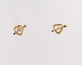 Gold Diamond Heart, Cupid's Arrow Earrings Stud
