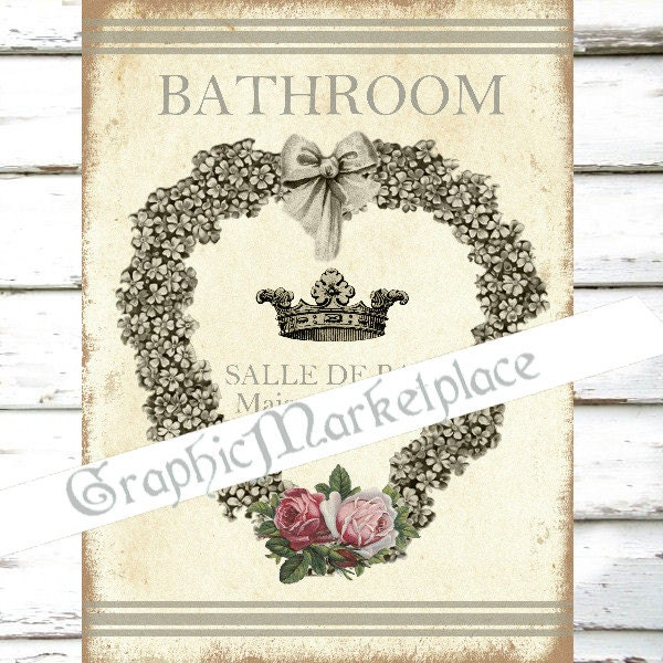 Bathroom salle de bain door hanger sign shabby chic digital for Salle de bain door sign
