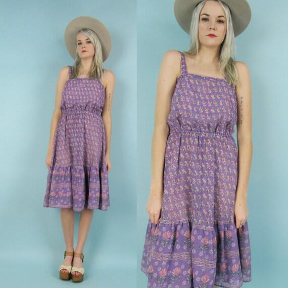 70s Cotton Gauze Floral Summer Dress