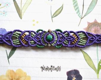 Macramè bracelet with Malachite chip and copper beads