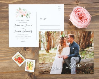 Photo Save the Date, Save the Date Postcard, Classic Save the Date, Traditional Save the Date, Coral Save the Date