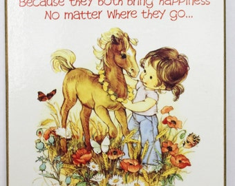 Vintage 1985 Friendly Thoughts Print Block Picture by Maria Horse and Little Girl
