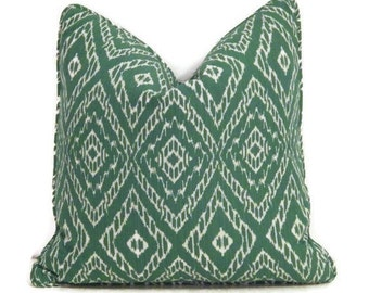 "Green Ikat 18"" Pillow Cover, Malachite Green Pillow Cover, Green and White Ikat Pillow, Modern Green Pillows"