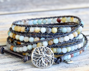 Wrap Bracelet, Beaded Wrap Bracelet, Wrap Bracelets, Surfer Girl Jewelry, Tree of Life Designer Button, Boho Jewelry, Leather Wrap Beaded