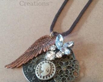 Steampunk Cameo clockwork necklace