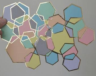 Geometric art - geometric papercut - geometric pastels - pastels and gold art - pastel art - geometric artwork - pastel home decor