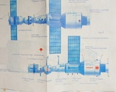 Soviet Space station blueprint. Vintage 15'' by 12'' sheet featuring Salyut. Space program. Made in USSR 1970's. Collectible Wall art decor
