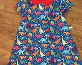 Girls Dress - Unique Girls Dinosaur Print Dress - Little Girls Dinosaur Dress  - Girls Dinosaur Party Dress - Dinosaur costume