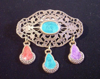 Bronze Metal Brooch with Blue, Purple, and Red Accents