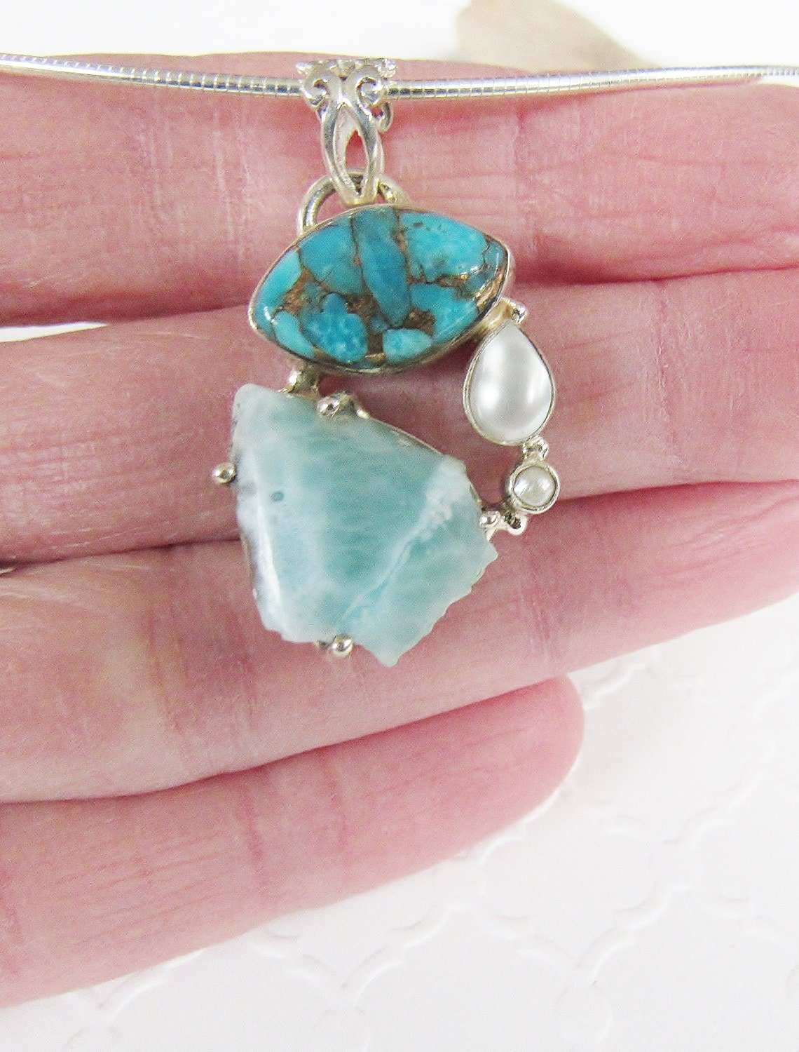 Larimar Necklace Larmiar Turquoise Pearl Jewelry Multi