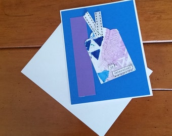 Original Mixed Media Tag Art Greeting Card; Be Determined; Inspirational Message; One of a Kind Handmade Card