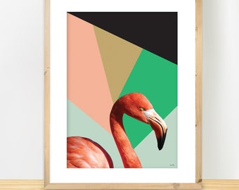 Flamingo Print, Minimalist Collage Print, Modern Geometric Art, Triangular Art, Modern Print Gift, Nordic Design, Pastel Colours, A3 print