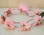 THE TYLLA - Bridal Pink Flower Crown Floral Wreath Woodland Rustic Circlet Bride Spring Wedding Romantic Elegant Flower Girl Midsummer