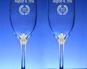 NokNoks 60th  Anniversary Champagne Toasting Flutes - Wedding - 8 oz - wine glass - personalized