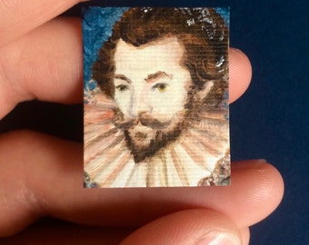 Mini Sir Walter Raleigh Painting, Framed