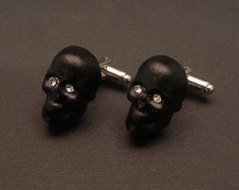 Murano Glass Skull Cufflinks, goth jewelry, swarovski crystals