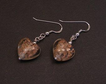 Saint Valentine Murano glass  Heart Hook Earrings, 925 sterling silver, Venetian jewelry, St. Valentine gift