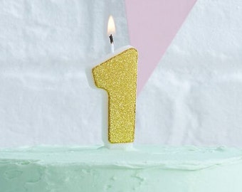 Gold Glitter Candles | Numbers 0 - 9 | Birthday Candles | Gold Glitter Candles | Gold Birthday Candles