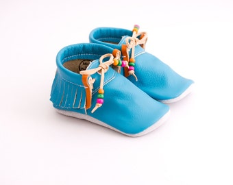 blue baby moccasins, baby shoes, baby mocs, soft shoes leather, soft sole shoes,moccs, toddler moccasins, genuine leather baby moccs, infant