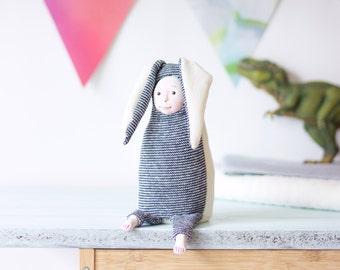 Modern nursery decor, plush doll, stuffed art toy, cuddly toy, toy animals, plush pet, soft creature, bunny creature, baby stuffed toy