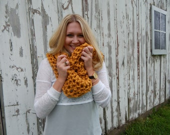 Ready to Ship Chunky Knit Scarf - Chunky Crochet Scarf - Long Knit Cowl Scarf - Knit Infinity Scarf - Chunky Style Extra Wide - Mustard