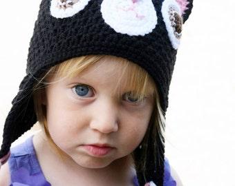 Handmade Crochet Cat hat, Black Cat hat, Boys hat, Girls hat, Kids hat, Character Hat, Animal hat