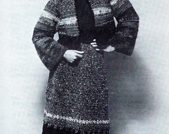 Donegal Tweed Jacket and Matching Midi-Skirt PDF Crochet Pattern