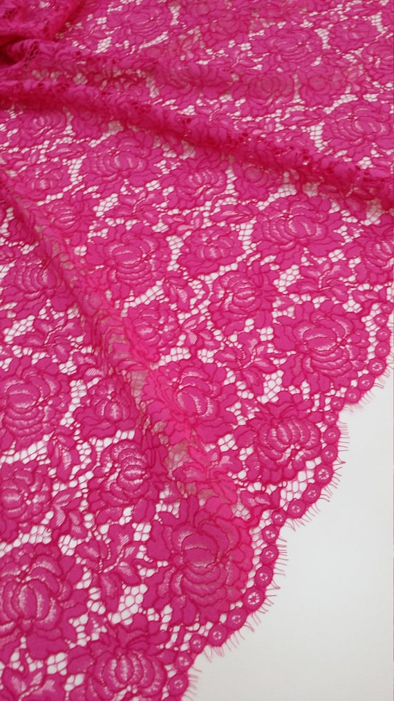 Pink Lace fabric Spanish Lace Embroidered lace Wedding
