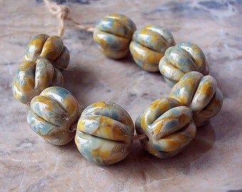 Handmade Lampwork Glass Beads  (2 pcs) - Silvered Grey, Yellow, Beige Pumpkin. Hand-Formed Lampwork Beads. Organic Lampwork Beads.