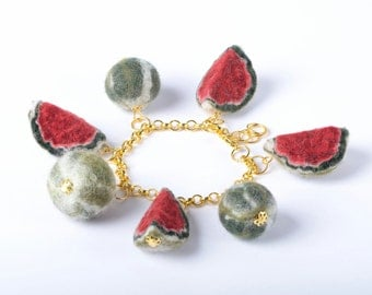 Watermelon bracelet in kawaii style with fruits on rolo chain - fruit jewelry for women and teens - adjustable one size bracelet [BT10]