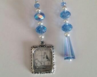 Far Side Cartoon beaded bookmark - blue crystals!
