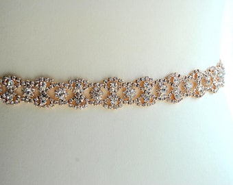 Rose gold Thin Full Length Bridal Belt Sash Rhinestone Belt Sash Flower Girl Bridesmaid Gift Sash belt Crystal Dress Sash Belt