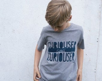 Curiouser and Curiouser hand screenprinted organic t-shirt for kids grey