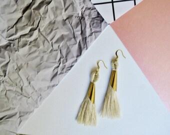 Foxglove earrings // Tassel Earrings // Fiber Earrings