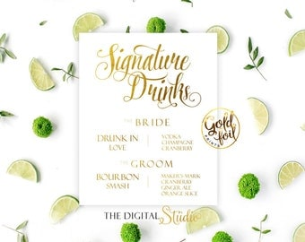 Signature Drinks, Wedding Signs, White and Gold Foil Print, Wedding Reception, Wedding Drink Sign, Signature Drinks