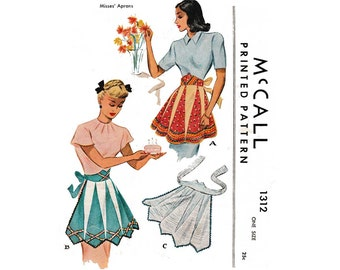Women's 1940's Hostess Half Apron Sewing Pattern Uncut Vintage McCall 1312