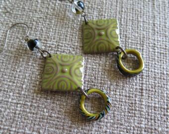 modern earrings, fun earrings, olive earrings, olive and black earrings, lightweight earrings, enamel earrings, artisan earrings, green