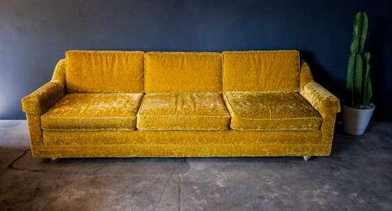 Vintage Gold Yellow Velvet Sofa Couch  Mid Century