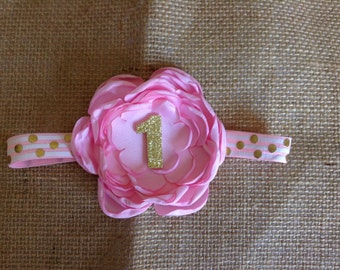 Girls pink and gold couture headband-age one,happy birthday one year old headband,birthday party,photo prop,boutique hair